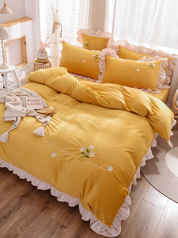 4Pcs Winter Double-sided Crystal Velvet Korean Lace Embroidery Thick Coral Velvet Embroidered Flannel Bed Sheet Duvet Cover