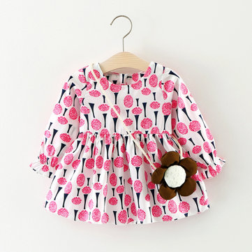 Flower Printed Girls Dress For 6-36M