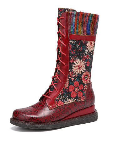 Flowers Embroidery Leather Comfy Wedges Heel Mid Calf Boots