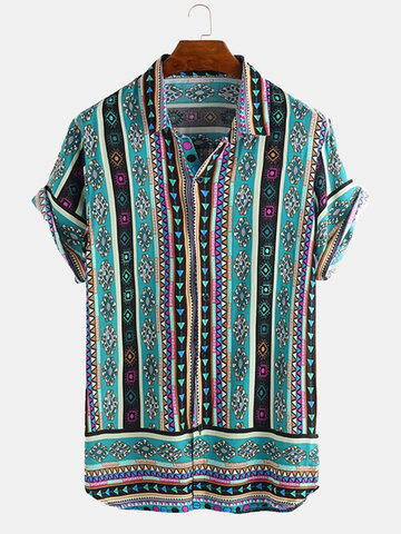 Ethnic Geometric Print Shirt