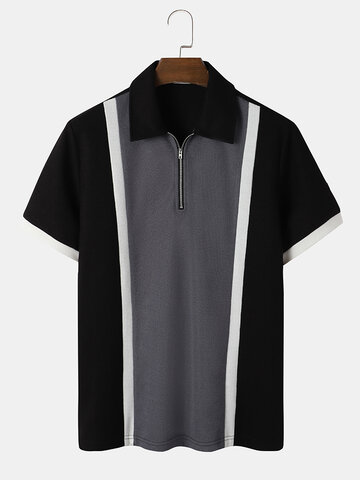 Tricolor Knitted Golf Shirt