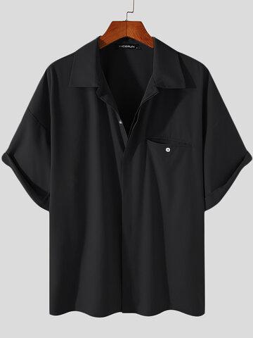 प्लस आकार ठोस छुपा जेब शर्ट्स