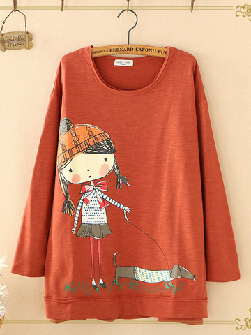 Cartoon Print Casual Sweatshirts