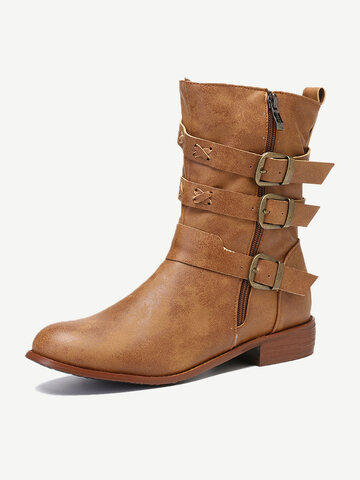 Buckle Decoration Motorcycle Mid Calf Boots