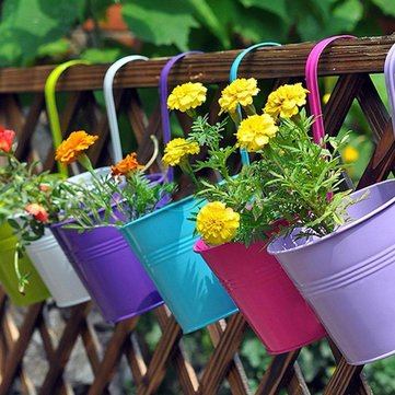 10 pezzi 10 colori moda metallo ferro vaso di fiori appeso balcone giardino pianta fioriera decorazioni per la casa