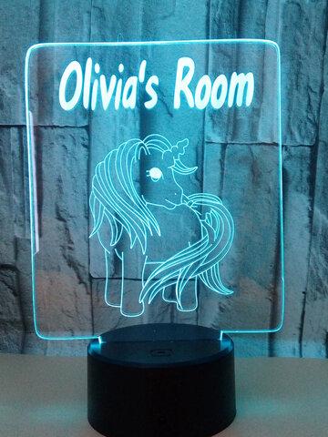Unicorn 3D Acrylic  Night Light