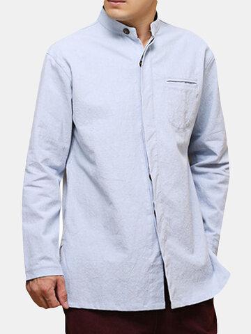 Chemise décontractée ample en coton de style national