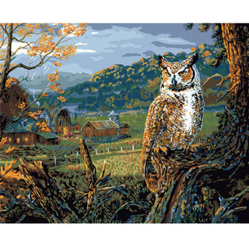 Plaid Edge of the Night Paint par Number Kit Owl Scenery Bedroom Living Room Home Decor