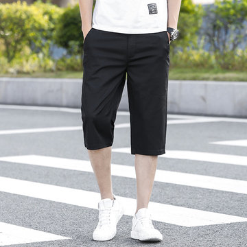 Season Sports Cropped Trousers Men's Loose Shorts Plus Fertilizer XL Fat Casual Thin Section 7 Points Tooling Pants