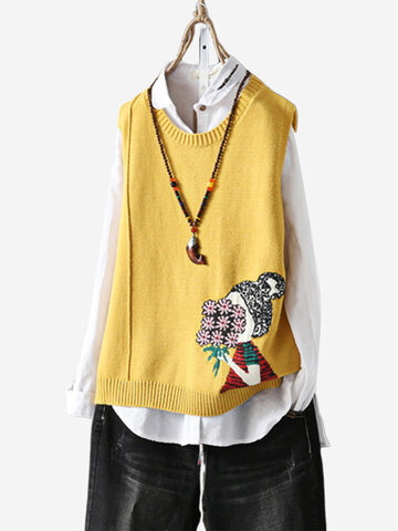 Cartoon Print Sleeveless Sweater