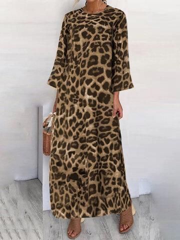 Leopard Print 3/4 Sleeve Dress