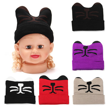 Baby Girls Boys Beanie Knit Cap Cartoon Cute Cat con Orecchio Lovely Crochet Toddler cappello caldo