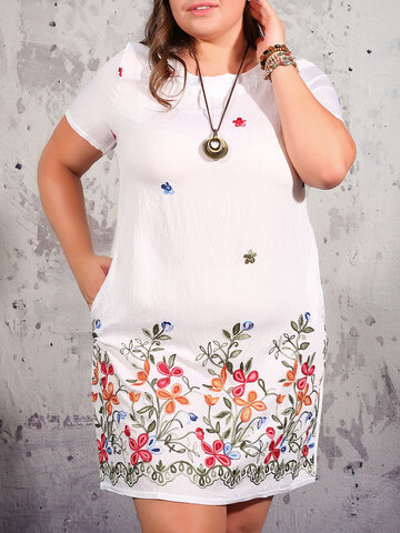 Ethnic Floral Embroidery Beaches Dress
