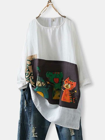 Cartoon Cat Patch Split Long Blouse
