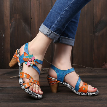Hook Loop Leather Sandals