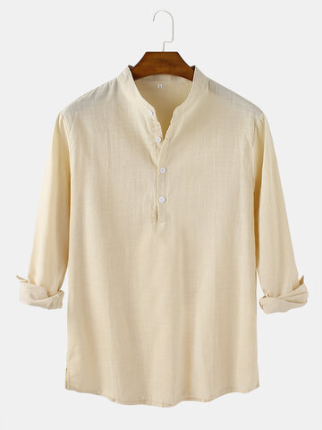 Solid Cotton Linen Henley Shirts
