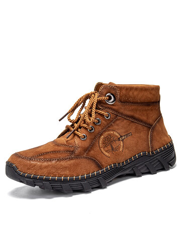 Men Hand Stitching Work Style Leather Boots