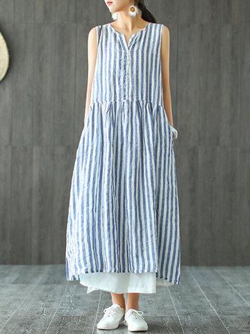 مخطط طباعة الخامس الرقبة Plus حجم فستان ماكسي