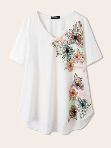 Brief Flowers Print  Casual T-shirt