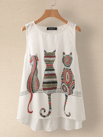 Cat Print Sleeveless Tank Tops