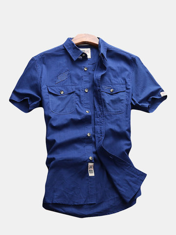 Stylish CottonBreathable Shirts, Blue dark blue