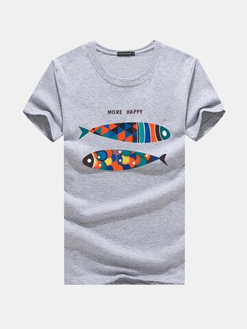 Fisch gedruckt Sommer lässig T-Shirts