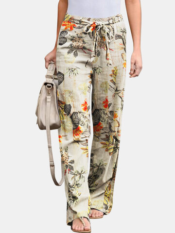 Floral Printed Elastic Pants