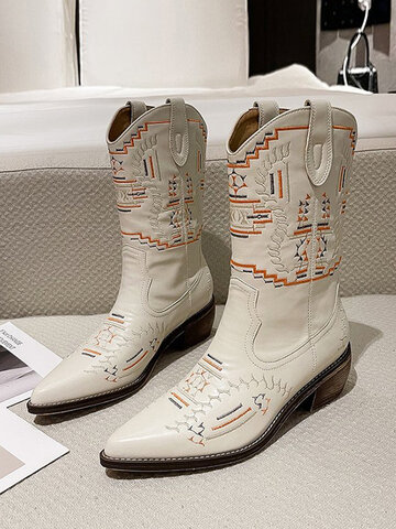 Vintage Embroidered Western Cowboy Boots