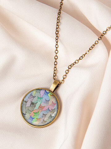 Round Glass Cat Necklace