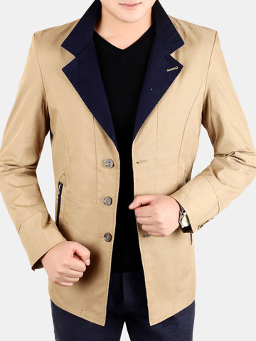 Solid Color Turn-Down Collar Jacket, Blue