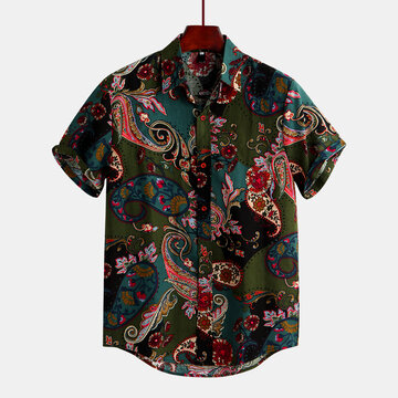Men's Ethnic Style Floral Printing Short Sleeve Shirt