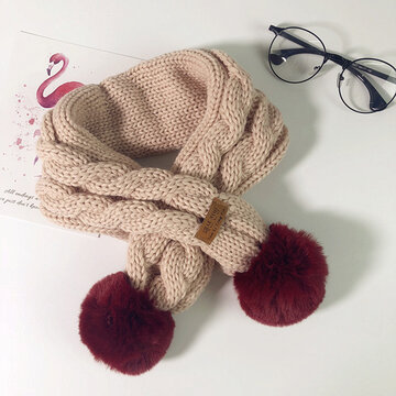 Ball Decor Solid Cotton Warm Kids Knit Scarf