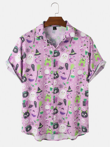 Fun Cartoon Halloween Printed Shirt