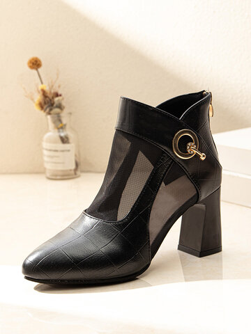 Fashion Splicing Mesh Pointed Toe Heeled Sandals Boots
