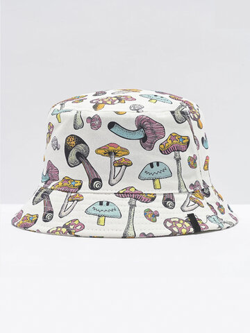 Collrown Women & Men Colorful Mushroom Padrão Print Balde Chapéu