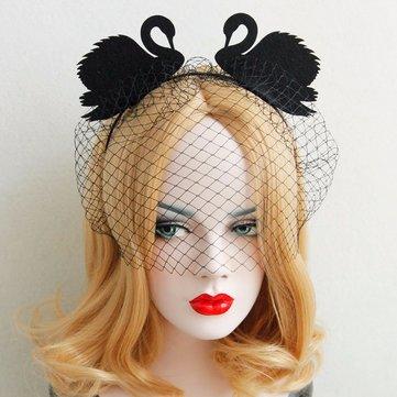 Retro Cosplay Headband Two Black Swan Lace Veil Party Headband