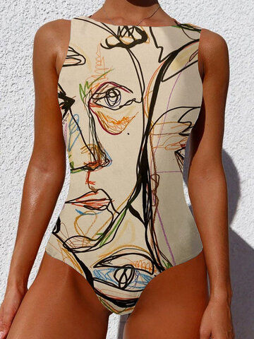 Graffiti Abstract Print Sleevless One Piece