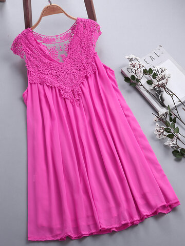 Lace Patchwork Chiffon Dresses