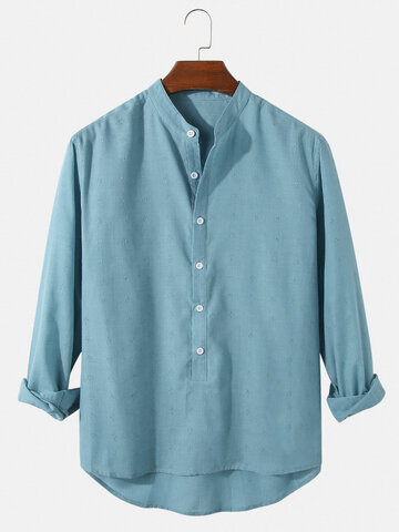 Solid Cotton Henley Shirts