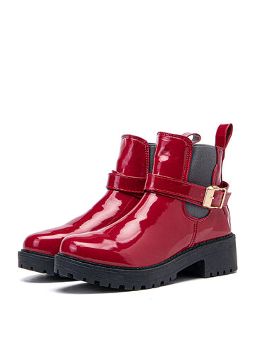 Patent Leather Chunky Heel Boots