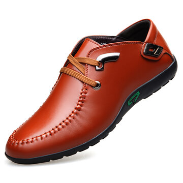 Men Leather Non Slip Casual Driving Shoes