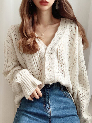 Solid Hollow Button Knitted Cardigan