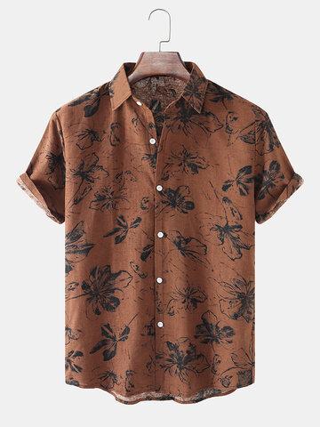Cotton Floral Print Vintage Shirt