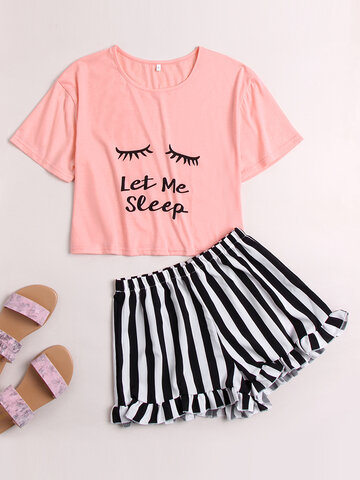 Letters Print Pajamas With Striped Panty