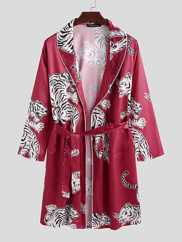 Tiger Print Smooth Pajama Robe