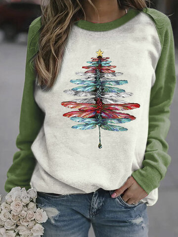 Dragonfly Tree Printed O-neck Sweatshirt