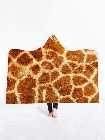 Animals Stripes Hooded Blanket