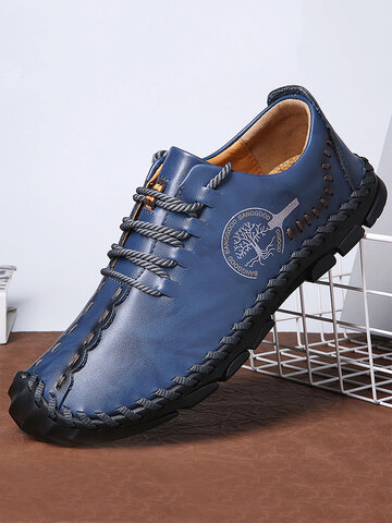 Menico Cow Leather Hand Stitching Casual Shoes