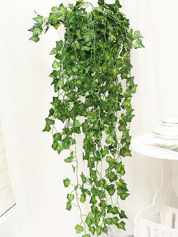 Simulação falsa de hortaliças artificiais Rattan Folha Planta Suspensão na parede, festa de casamento, jardim, decoração da parede, decoração da casa