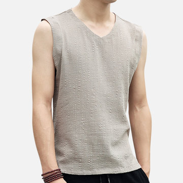 Mens Linen Cotton Summer Loose Breathable Tank Tops